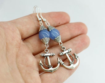Anchor earrings Dangle earrings Nautical jewelry Beach wedding Mermaid party outfit for women gift for girlfriend gift for sister gift Jade