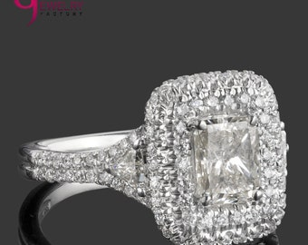 Radiant Cut Diamond Ring, 1.94 TCW, Radiant Cut Ring With Side Trillion Cut Diamonds, Halo Engagement Ring, Double Halo Ring, 18k White Gold