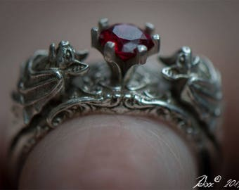 Bat Ring Bat Jewelry Silver Bat Ring Gothic Jewelry Gothic Rings Ruby Rings Bats Animal Rings Goth Engagement Gothic Ring Vampire Ring Goth