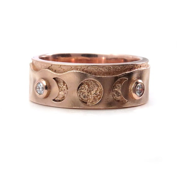 Mens Rose Gold and Diamond Triple Moon Wedding Band - Moon Phase Engagement Ring