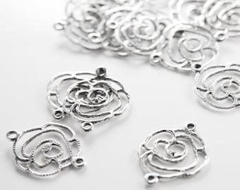 20pcs Oxidized Silver Tone Base Metal Charms-Flowers Link 20x25mm (25674Y-H-204)