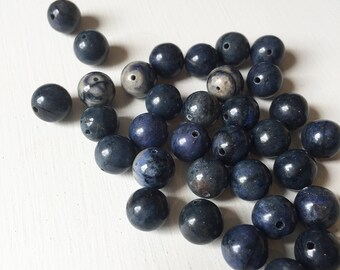Dumortierite 10mm Smooth Round Beads