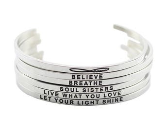 Stainless Steel Silver Stamped Mantra Statement Cuff Bangle Bracelet - Breathe, Love, Live, Believe