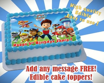 PAW Patrol cake toppers, frame, edible print. Sugar sheet decoration birthday party supplies. Personalized party idea.