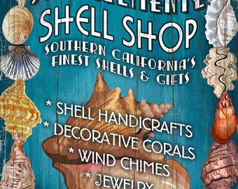 San Clemente, California - Shell Shop Vintage Sign (Art Prints available in multiple sizes)