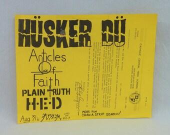 HUSKER DU original flyer - Detroit Michigan 1984 - Vintage 1980s Flyer - band gig concert flyer