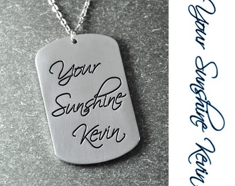 Free shipping - Small Dogtag Necklace, Personalized signature Jewelry, Handwriting Pendant, handmade pendant,Custom Signature