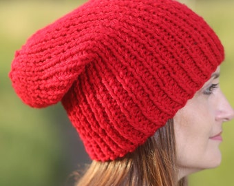 Red women hat Beanie hat Knit hat Winter hat Red slouchy hat Slouchy beanie Red chunky beanie Wool knit hat Womens hat Knit hats women
