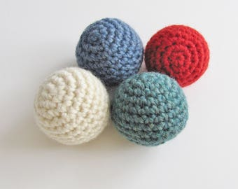 Natural Catnip Cat Toy Balls, 4 Organic Catnip Balls, Available Catnip Free, Crocheted Cat Toy, Toys For Cats, Made in USA