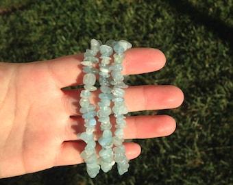 Aquamarine Stone Chip Bracelet, Stone Chip Bracelet, Aquamarine Stone, Stretch Bracelet, Blue Green Aquamarine