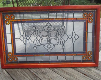 Beautiful Hand made Leaded Glass Window replacement or hanging framed Glass ribbed, beveled & colored purple and orange glass