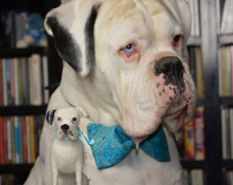 Needle Felted Boxer Dog  White Boxer Dog Personalized Pet Portrait   Pet memorial Dog Memorial Dollhouse