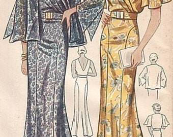 Vintage 1930s Thin Man Sleeveless Surplice Cape Sleeve Evening Gown Formal Dress Jacket REPRO Sewing Pattern 2091 B42