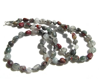 African Bloodstone Gray and Red Bead Necklace
