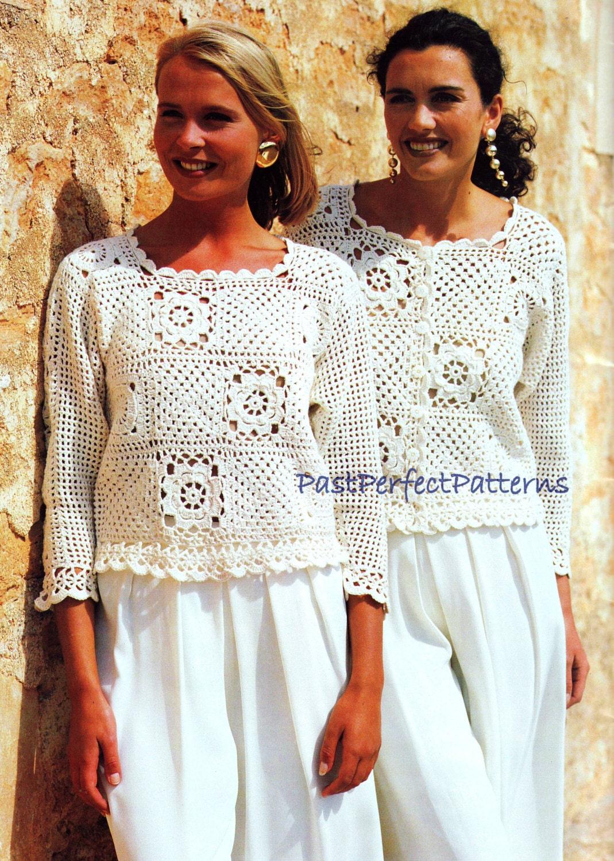 Vintage Crochet Pattern Granny Square Tops Sweater Jacket