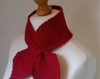 The Agatha Scarf - Alpaca & Wool Keyhole Ascot Scarf - Made To Order - Choice of Colour - Crochet