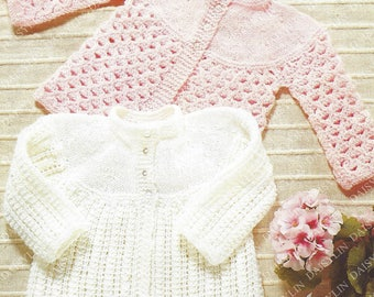 PDF Instant Digital Download baby matinee coats knitting pattern 18/20 inch  4ply (399)