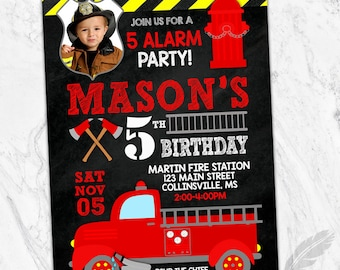 Fireman Birthday Party Invitations , fire, truck, hero, first responder