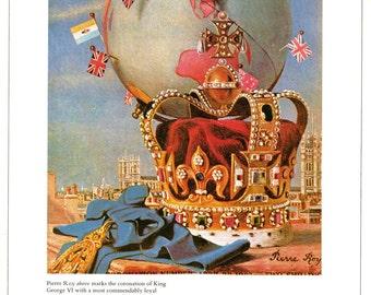1937 Vogue Crown Jewels Cover Fashion Illustration King George VI Coronation Surreal Art Regalia United Kingdom British Monarchy Wall Decor
