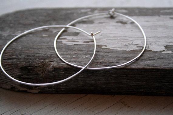 Large Sterling Silver Hoop Earrings Artisan Made Rustic Round Hoops