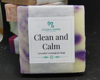 """Handmade """"Clean and Calm"""" Lavender and Lemongrass Soap by Clean & Happy (1 bar of soap)"""