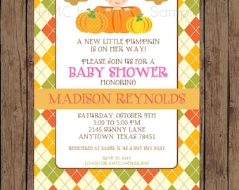 Custom Printed Girl Pumpkin Baby Shower Invitations - 1.00 each with envelope