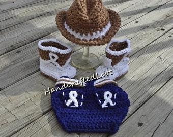 Newborn Baby Crochet Cowboy Hat Boots Photo Prop Set Outfit Blue Jean Diaper Cover Shower Gift Keepsake 0-3 Months