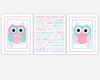 Owl Baby Girl Nursery Art Pink Blue Owls Girls Saying Baby Nursery Decor Little Girls Room Decor 3 Print Set CUSTOMIZE COLORS