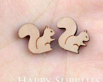 4pcs (SWC85) DIY Laser Cut Wooden Squirrel Charms