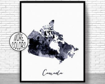 Canada Print Watercolor Map Canada Map Art Map Painting Map Artwork  Office Decorations Country Map ArtPrintZone