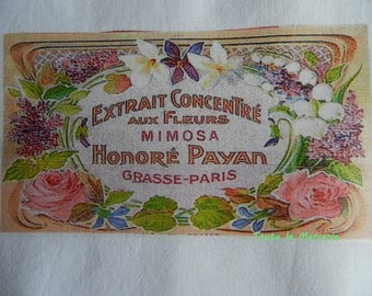 transfer 59.  Lovely original transfer on fabric: vintage French SOAP label