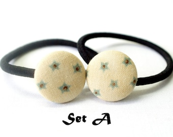 Christmas Large Stars Ponytail Holder ~ Fabric Button ~ Covered Button ~ Hairband ~ Elastic Band (Set of 2) - 22mm (0.87 inch)
