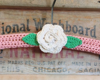 pretty pink and ivory rose crocheted hanger