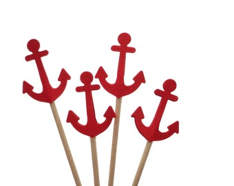 Red Anchor Cupcake Toppers, Nautical Baby Shower Decorations - No996