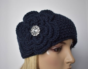 Flower Head Wrap Headband Earwarmer Winter Knit Navy Blue with Rhinestone Button