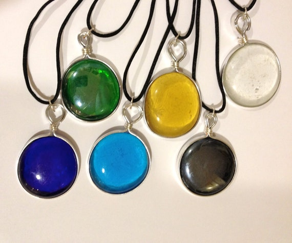 SJC10292 - Wire mounted glass cabochon pendant with black satin cord - various colors