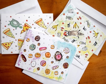 Blank Note Cards - Set of 6 Note Cards, Animal Note Cards, Watercolor Note Cards, Note Cards with Envelopes, Hedgehog Note Cards