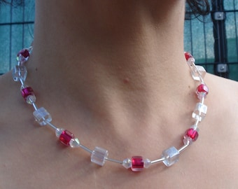 Red and Clear Cubes Necklace