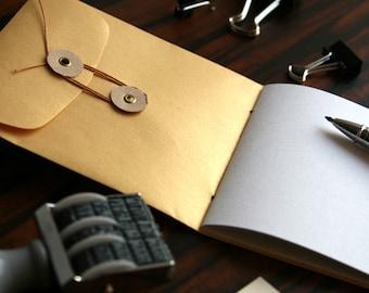 Handmade Mini Notebook: Button & String Envelope Pocket Travel Scrapbook Memo Pad Jotter  - Gold Metallic Single Pocket Cover