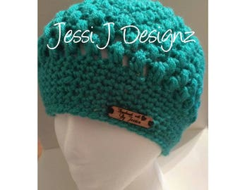 Hand Crochet Beanie/Slouchy Hat - Light Teal