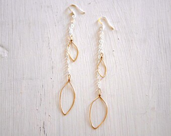 14k Gold Filled Small Drop Leaf Dangle Earrings. Delicate hammered gold and sterling silver chain. Boho Romantic Organic.