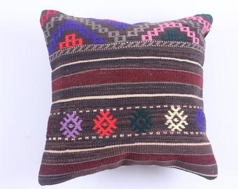 Throw Pillow Decorative Pillow Accent Pillow - 16''x16'' - Bohemian Pillow Vintage Kilim Pillow Cover Old Sumak Sahsevan Cushion -