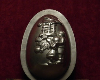 antique large chocolate mold half Easter egg fairytale motive  hansel and gretel