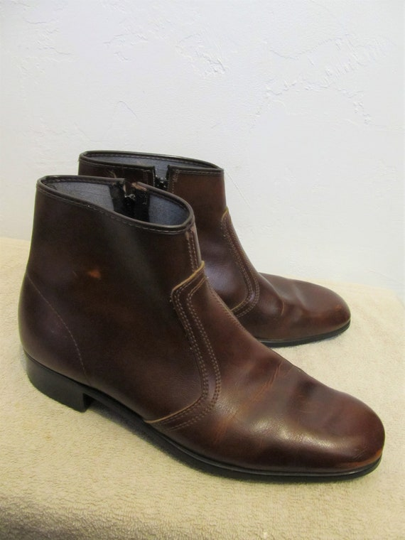 Brown PLEATHER Boots ROCKER Vintage By 70's HABAND 9 5 Ankle Men's Zip Colored T6EFwnn