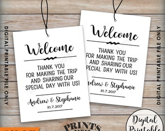 Wedding Welcome Bag Tags, Thank Out of Town Guests, Destination Wedding Hotel Bag Labels, Gift Tags, Custom Digital Printable Welcome Tags