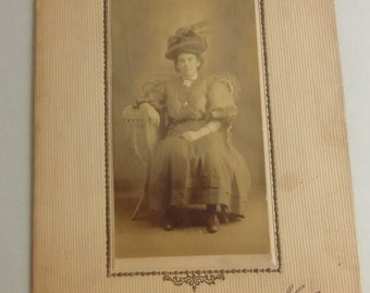 Rescued Antique Cabinet Card Lady with Hat