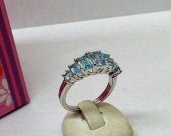 Ring 925 Silver with light blue crystals SR580