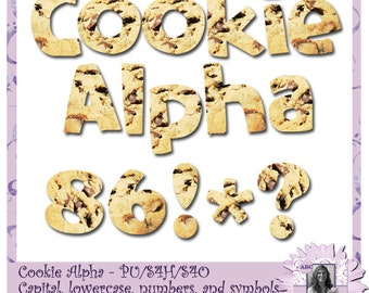 Cookie Alphabet, alpha, chocolate chip cookies, text, write in cookies, your text as cookies