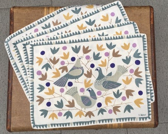 Set of Four (4) Fantastic Mid-Century Scandinavian Placemats - C. Arfelt Signed Novelty Design with Doves