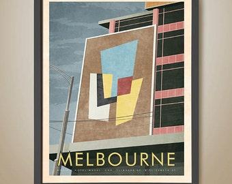 Melbourne Poster. Hosie's Hotel Mural. Post modern. Flinders Street Melbourne. 1950's. Melbourne Print.